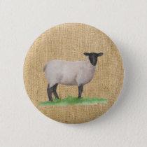 Watercolor Suffolk Sheep Pinback Button