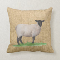 Watercolor Suffolk Sheep Throw Pillow