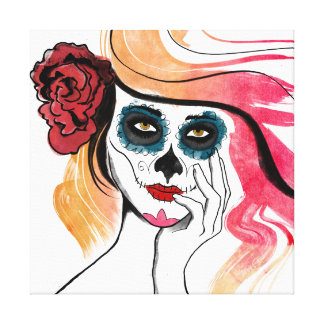 Watercolor Sugar Skull Girl Stretched Canvas Prints