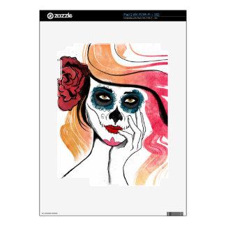 Watercolor Sugar Skull Girl Skin For The iPad 2
