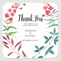 Watercolor summer flowers Wedding Thank You Favor Square Sticker