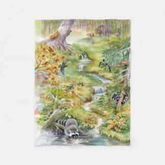 Watercolor Summer Scene Fleece Blanket