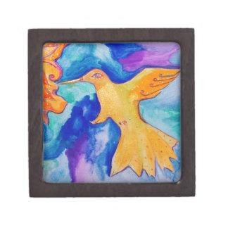 Watercolor Sun Bird Modern Fine Art Painting Premium Keepsake Box