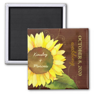 Watercolor Sunflower Autumn Wedding Save the Date 2 Inch Square Magnet