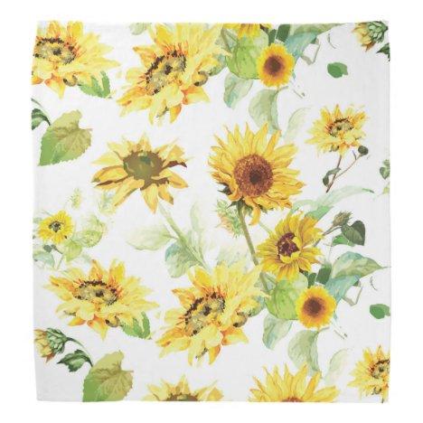 Watercolor Sunflower Bandana