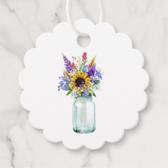 Watercolor Sunflower Bouquet Mason Jar Thank You Favor Tags