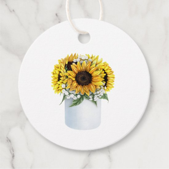 Watercolor Sunflower Bouquet Thank You Favor Tags