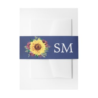 Watercolor Sunflower Burgundy Rose Navy Monogram Invitation Belly Band
