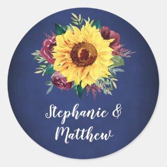 Watercolor Sunflower Burgundy Rose Navy Wedding Classic Round Sticker