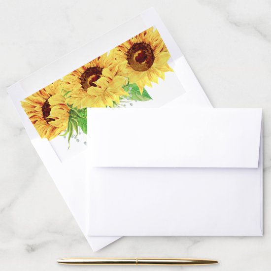 Watercolor Sunflower Envelope Liner