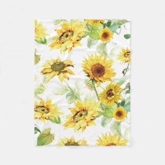 Watercolor Sunflower Fleece Blanket
