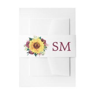 Watercolor Sunflower Floral Monogram Invitation Belly Band