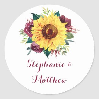 Watercolor Sunflower Floral Wedding Classic Round Sticker
