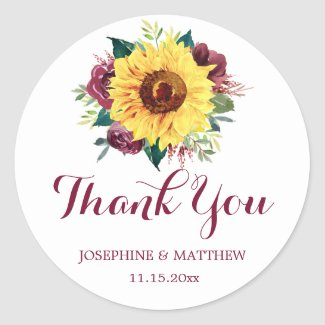 Watercolor Sunflower Floral Wedding Thank You Classic Round Sticker