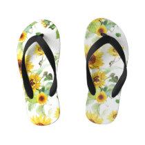 Watercolor Sunflower Kid's Flip Flops