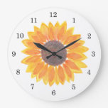 Watercolor Sunflower Large Clock