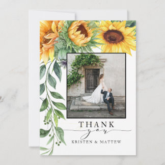 Watercolor Sunflower Modern Photo Thank You Card