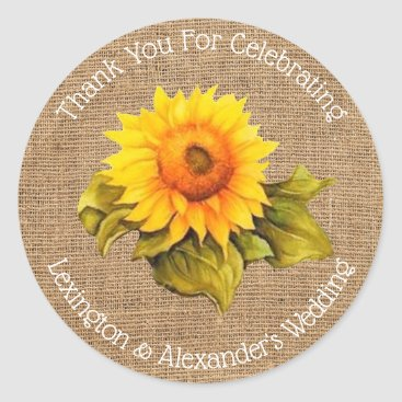 Wedding Themed Watercolor Sunflower On Burlap Wedding Guest Favor Classic Round Sticker