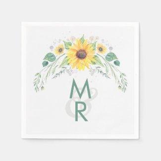 Watercolor Rustic Sunflowers Wedding Napkins