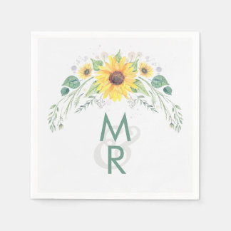 Watercolor Sunflower Rustic Country Wedding Napkin