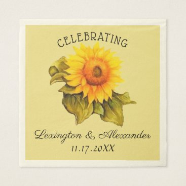 Bride Themed Watercolor Sunflower Rustic Country Wedding Paper Napkin