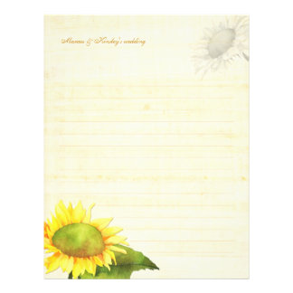 Watercolor Sunflower Wedding Guestbook Lined Paper Letterhead Template