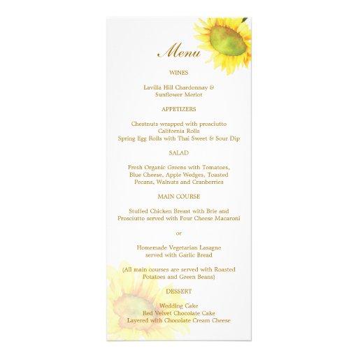 Watercolor Sunflower Wedding Reception Menus 4x9 Custom Rack Card