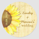 Watercolor Sunflower Wedding Save the Date Sticker