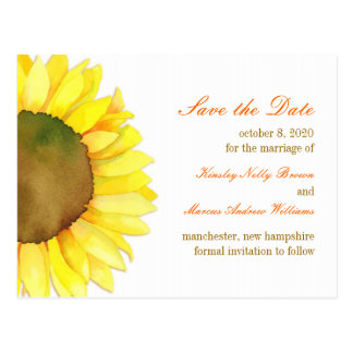 Watercolor Sunflower Yellow & White Save the Date Postcard