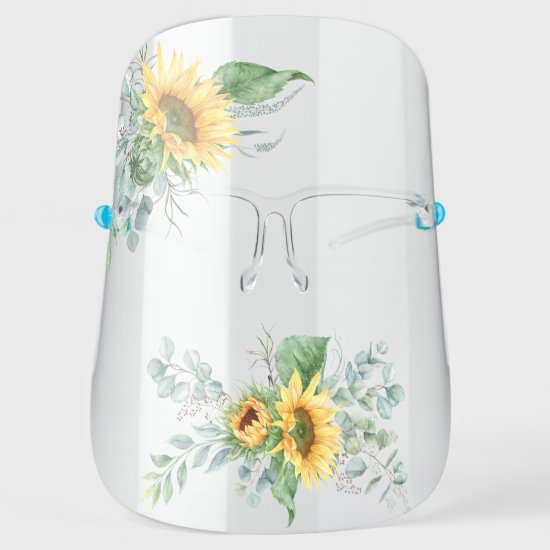 Watercolor Sunflowers and Eucalyptus Greenery Face Shield