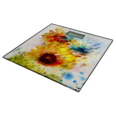Watercolor Sunflowers Bathroom Scale at Zazzle