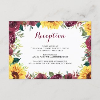 Watercolor Sunflowers Border Wedding Reception Enclosure Card