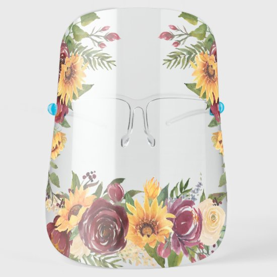 Watercolor Sunflowers & Burgundy Flowers Face Shield
