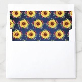 Watercolor Sunflowers Burgundy Rose Navy Wedding Envelope Liner
