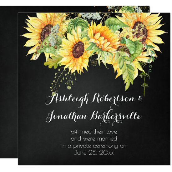Watercolor Sunflowers Chalk Board Post Wedding Invitation