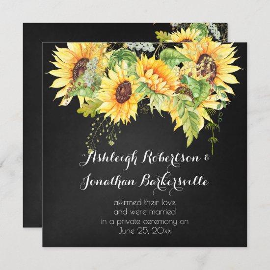 Watercolor Sunflowers Chalk Board Post Wedding Invitation
