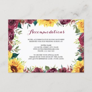Watercolor Sunflowers Floral Border Accommodation Enclosure Card