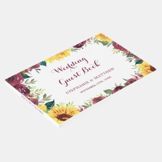 Watercolor Sunflowers Floral Border Wedding Guest Book