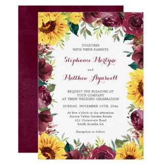 Watercolor Sunflowers Floral Border Wedding Invitation