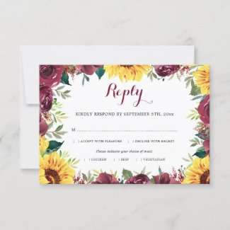 Watercolor Sunflowers Floral Border Wedding Meal RSVP Card