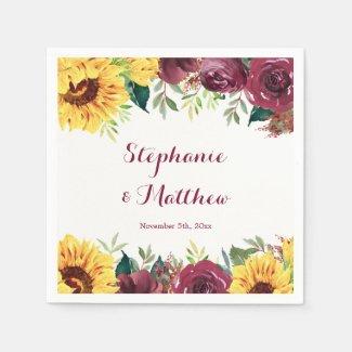 Watercolor Sunflowers Floral Border Wedding Napkins