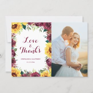 Watercolor Sunflowers Floral Border Wedding Photo Thank You Card