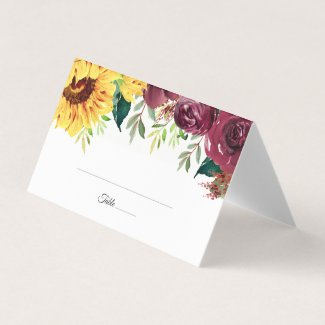 Watercolor Sunflowers Floral Border Wedding Place Card