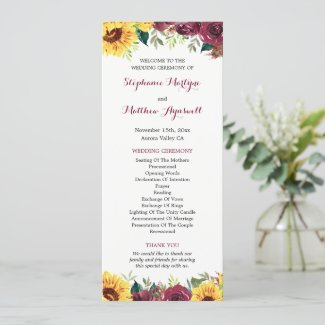 Watercolor Sunflowers Floral Border Wedding Program