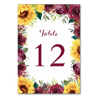 Watercolor Sunflowers Floral Border Wedding Table Number
