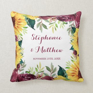 Watercolor Sunflowers Floral Border Wedding Throw Pillow
