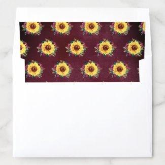 Watercolor Sunflowers Floral Burgundy Envelope Liner