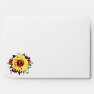 Watercolor Sunflowers Floral Envelope