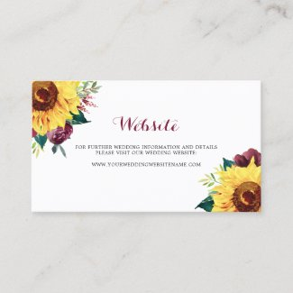 Watercolor Sunflowers Floral Wedding Website Card