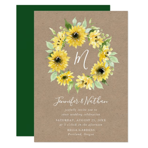 Watercolor Sunflowers Monogram Wreath Wedding Invitation Zazzle Com